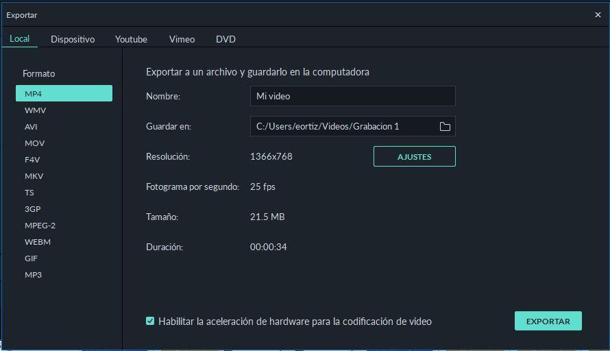 Guardar proyecto en Filmora y exportar el proyecto a los diferentes formatos posibles (mp4, avi o mp3) entre otros.