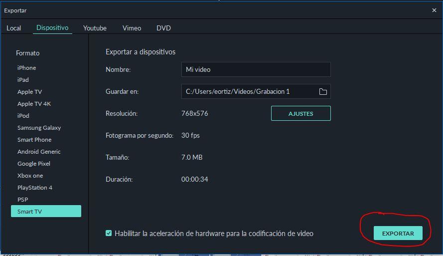Exportar proyecto en Filmora